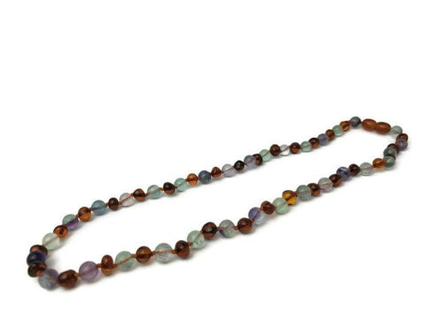 Baltic Amber Necklace - Baltic Amber Necklace Rainbow Cognac Pink Rose Quartz Purple 17 19 Fluorite