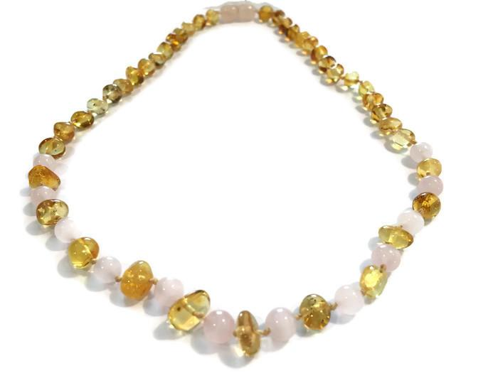 Baltic Amber Necklace - Baltic Amber Polished Lemon Pink Rose Quartz 17-18 Inch Necklace For Teen Or Adult Arthritis Carpal Tunnel Sciatica Back Pain Cramps