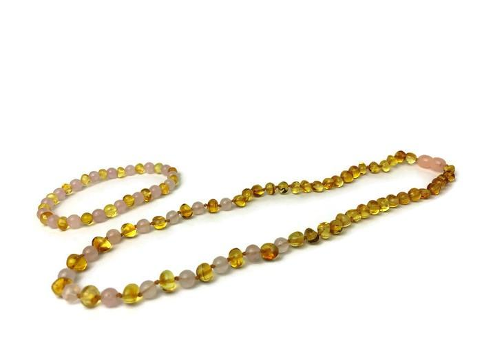 Baltic Amber Necklace - Baltic Amber Polished Lemon Pink Rose Quartz 17-18 Necklace
