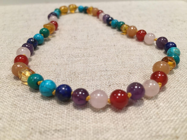 Baltic Amber 14 15 inch Necklace Rainbow Honey Amber Pink Red Agate 1