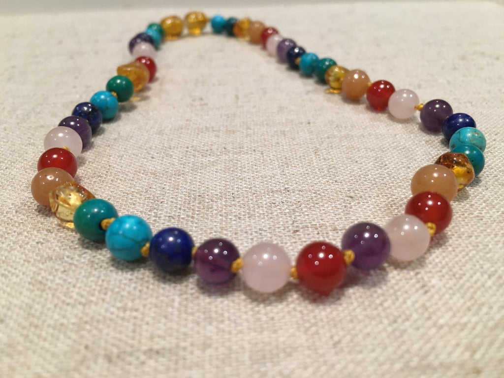Baltic Amber Necklace - Baltic Amber Pre-Teen Child Big Kid 14 Inch Necklace Rainbow Honey Amber Pink Rose Quartz Red Agate Aventurine Cyrsocolla