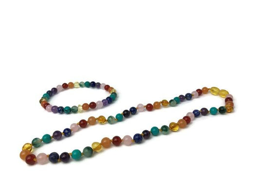 Baltic Amber Necklace - Baltic Amber Teen Adult 17 19 22 Necklace 7.5 Bracelet SET Rainbow
