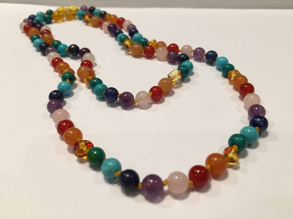 Baltic Amber Necklace - Baltic Amber Teen Adult 17 Inch Necklace & 12.5 Inch Necklace SET Rainbow Honey Amber Pink Rose Quartz Red Agate Aventurine Cyrsocolla