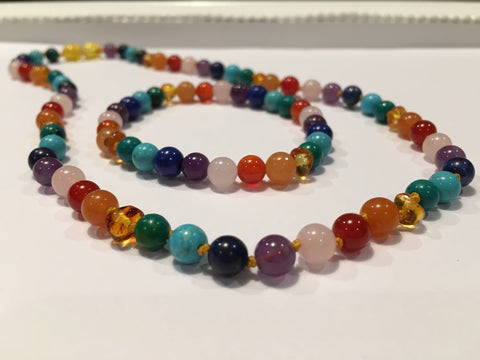 Baltic Amber Necklace - Baltic Amber Teen Adult 17 Inch Necklace & 7.5 Inch Bracelet SET Rainbow Honey Amber Pink Rose Quartz Red Agate Aventurine Cyrsocolla