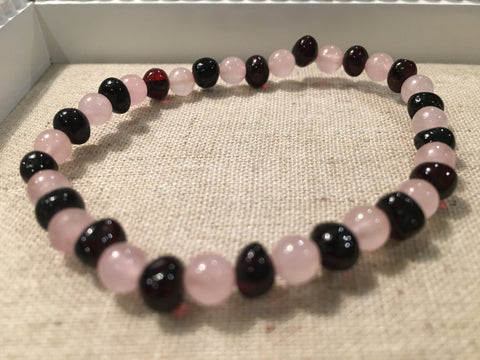 Baltic Amber Necklace - Baltic Amber Teen Adult 7.5 Inch Bracelet Cherry Amber For Inflammation Pink Rose Quartz For Sadness Separation Anxiety Depression