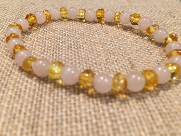 Baltic Amber Necklace - Baltic Amber Teen Adult 7.5 Inch Bracelet Honey Amber For Inflammation Pink Rose Quartz For Sadness Separation Anxiety Depression
