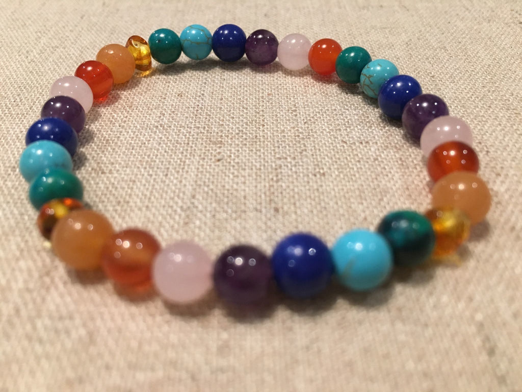 Baltic Amber Necklace - Baltic Amber Teen Adult 7.5 Inch Bracelet Rainbow Honey Amber Pink Rose Quartz Red Agate Aventurine Cyrsocolla