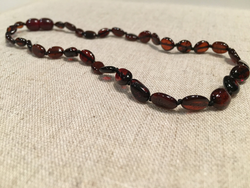 Baltic Amber Necklace - Baltic Amber Teething Bean Necklace Polished Cherry Newborn Baby Screw Clasp 10.5 To 11 Inch Infant Fever Cold Red Cheeks Fussiness Drool