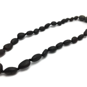 Baltic Amber Teething Bean Necklace Raw Cherry 10.5 to 11 in