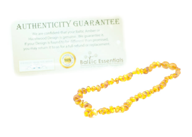 Baltic Amber Teething Necklace 12.5 inch Polished Honey Baby Infant Toddler 1