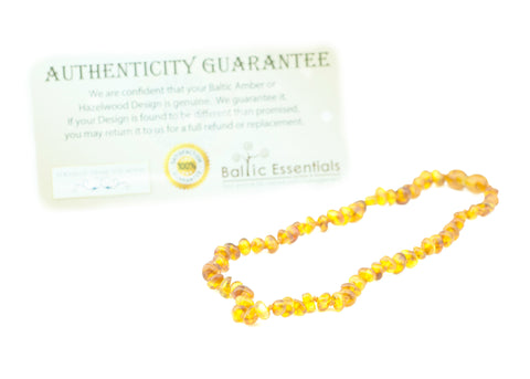 Baltic Amber Necklace - Baltic Amber Teething Necklace 12.5 Inch Polished Honey Baby Infant Toddler