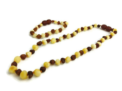 Baltic Amber Necklace - Baltic Amber Teething Necklace Bracelet SET Raw Milk 12.5 In 5.5 In Bracelet