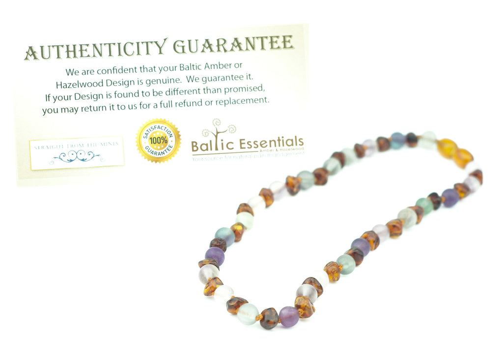 Baltic Amber Necklace - Baltic Amber Teething Necklace Rainbow Cognac Mixed With Pink Rose Quartz Purple Green Flourite Multi Baby, Infant, Toddler, Big Kid. 12.5 Inch