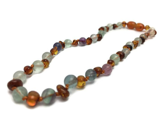 Baltic Amber Necklace - Baltic Amber Teething Necklace Rainbow Cognac Pink Quartz Purple Green 12.5 14
