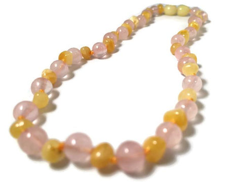 Baltic Amber Necklace - Baltic Amber Teething Necklace Rainbow Milk Mixed With Pink Rose Quartz Multi Baby, Infant, Toddler, Big Kid. 12.5 Inch