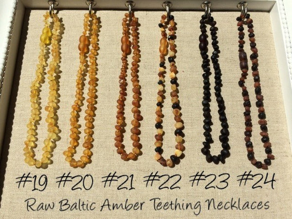 "Baltic Amber Necklace - Basic 12.5"" Polished Or Raw Baltic Amber Necklaces For Baby, Infant, Toddler"