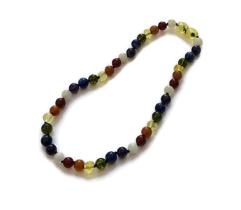 Baltic Amber Necklace - Chakra Rainbow 11 Or 12.5 Inch Baltic Amber Necklace Honey Moonstone