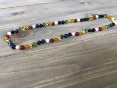 Baltic Amber Necklace - Chakra Rainbow 17 19 Inch Baltic Amber Necklace Honey Moonstone