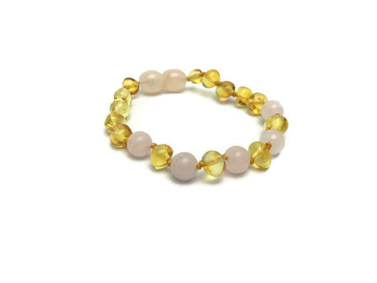 Baltic Amber Necklace - FAST Relief! Baltic Amber Teething Polished Lemon Pink Rose Quartz Separation Anxiety