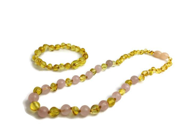 FAST Relief! Certified Baltic Amber Teething Necklace Lemon Pink Rose Anxiety 1