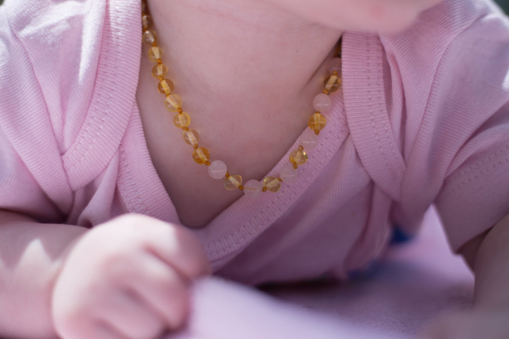 Baltic Amber Necklace - FAST Relief! Certified Baltic Amber Teething Necklace Lemon Pink Rose Quartz Separation Anxiety