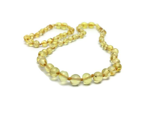 Baltic Amber Necklace - Fast RELIEF For Teething Baby NATURALLY 100% Baltic Amber! Polished Lemon