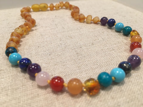 Baltic Amber Necklace - Half Back Baltic Amber Teen Adult 17 Inch Necklace Rainbow Honey Amber Pink Rose Quartz Red Agate Aventurine Cyrsocolla