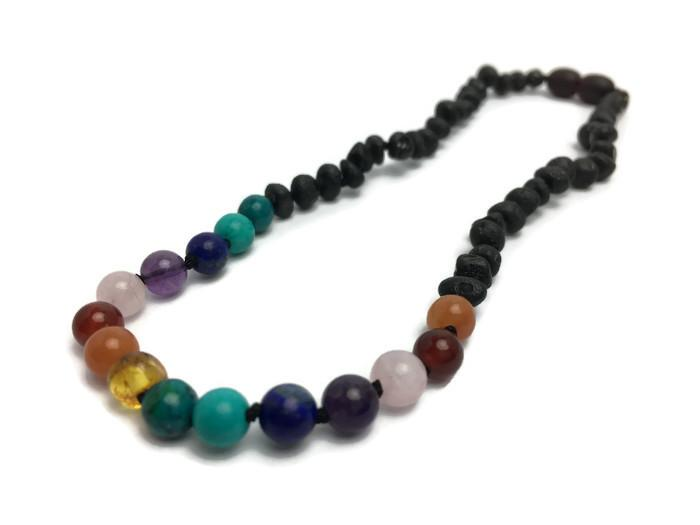 Baltic Amber Necklace - Half Baltic Amber Necklace 14 Rainbow Raw Black Cherry Pink Amethyst