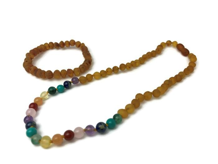 Baltic Amber Necklace - Half Baltic Amber Necklace 17 Rainbow Honey Amber Pink Quartz Red Agate