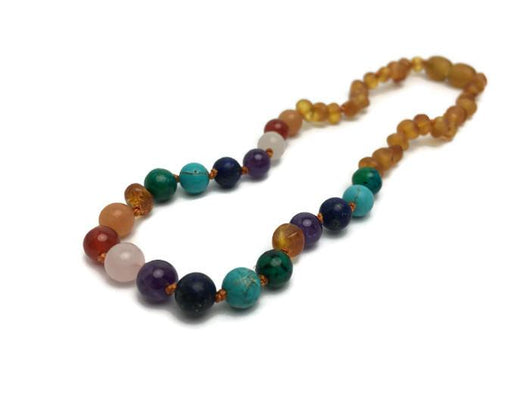 Baltic Amber Necklace - Half Raw Baltic Amber Necklace 11 Rainbow Rose Quartz Amethyst