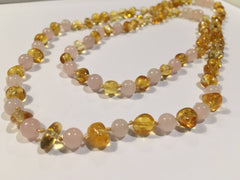 Baltic Amber Necklace - Necklace SET Baltic Amber Polished Lemon Pink Rose Quartz 17-18 And 11 Inch Necklace Baby Teething AND Teen Or Adult Arthritis Carpal Tunnel Sciatica Back Pain Cramps