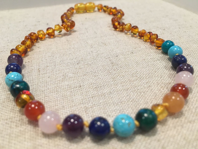 Baltic Amber Necklace - Polished Honey Half Amber, Half Rainbow - 11 Inch Baltic Amber Necklace Rainbow Honey Amber Pink Rose Quartz Red Agate Amethyst Aventurine Cyrsocolla Baby, Infant, Toddler, Big Kid.