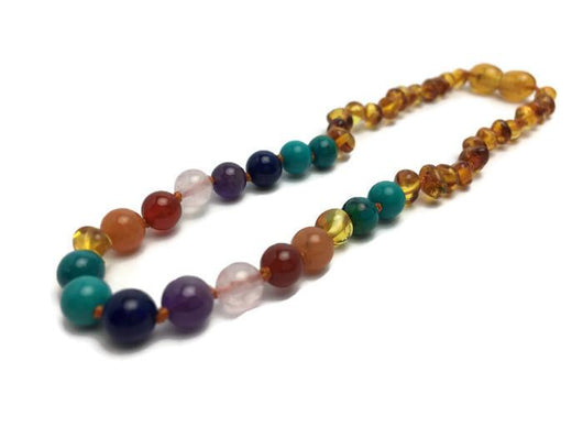 Baltic Amber Necklace - Polished Honey Half Rainbow 11 Baltic Amber Necklace Pink Quartz Amethyst