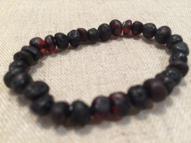 Baltic Amber teething Bracelet Raw Cherry stretch fever drool 1