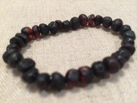 Baltic Amber Teething Bracelet Raw Cherry Stretch Fever Drool For Baby, Infant, Toddler Unpolished