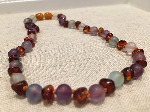 Baltic Amber Teething Necklace Rainbow Cognac Mixed With Pink Rose Quartz Purple Amethyst Green Flourite Multi Baby, Infant, Toddler, Big Kid. 12.5 Inch