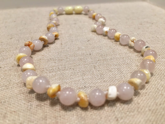 Baltic Amber Teething Necklace Rainbow Milk Mixed With Pink Rose Quartz Multi Baby, Infant, Toddler, Big Kid. 12.5 Inch
