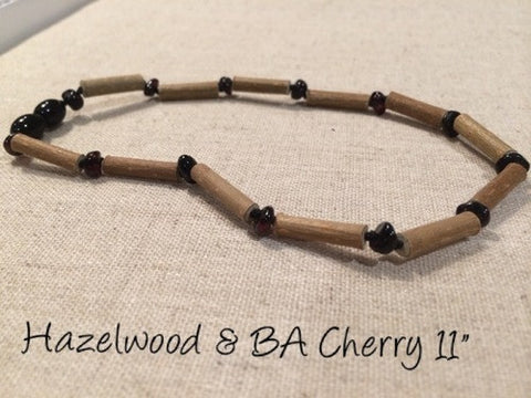 Cherry Hazelwood (For GERD, Colic, Eczema) Polished Mixed With Baltic Amber Necklace For Baby, Infant.