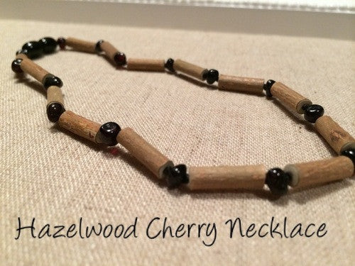 Cherry Hazelwood (For GERD, Colic, Eczema) Polished Mixed With Baltic Amber Necklace For Baby, Toddler, Or Big Kid.