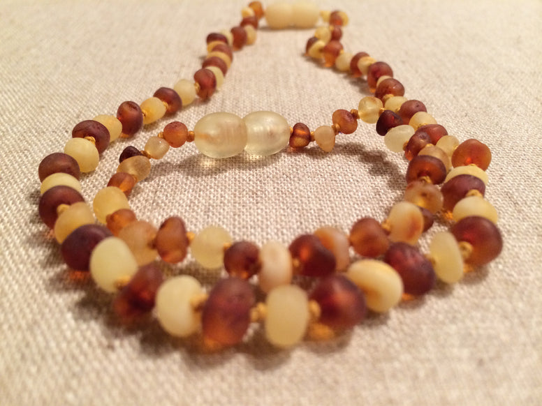 Copy Of Baltic Amber Teething Necklace Bracelet SET Polished Milk Quartz 12.5 Inch Necklace, 5.5 Inch Bracelet For Baby Toddler