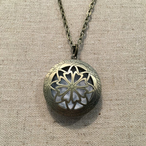 Essential Oil Diffuser Aromatherapy Pendant, Necklace silver or bronze 24""