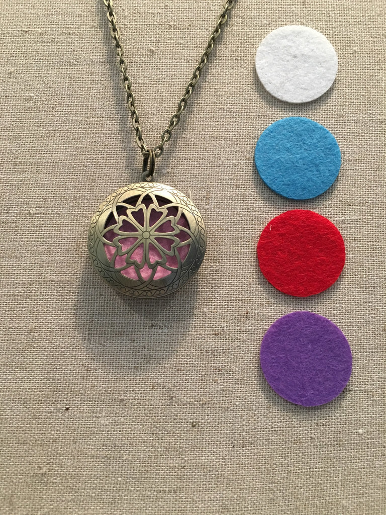 """Diffuser Necklace - Essential Oil Diffuser Aromatherapy Pendant, Necklace Jewlery Locket Antique Silver Or Bronze 24"""" Chain And 5 Aroma Pads"""