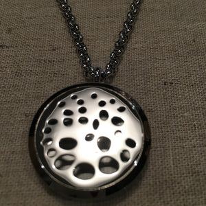Essential Oil Pendant 316L Surgical Grade Stainless Steel Diffuser Holes Circles