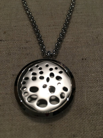 "Diffuser Necklace - Essential Oil Pendant Hypo-allergenic 316L Surgical Grade Stainless Steel Diffuser Volleyball, Mesh, Heart, Sunflower, Stars, Locket With 24"" Chain. 30mm Sized Locket"