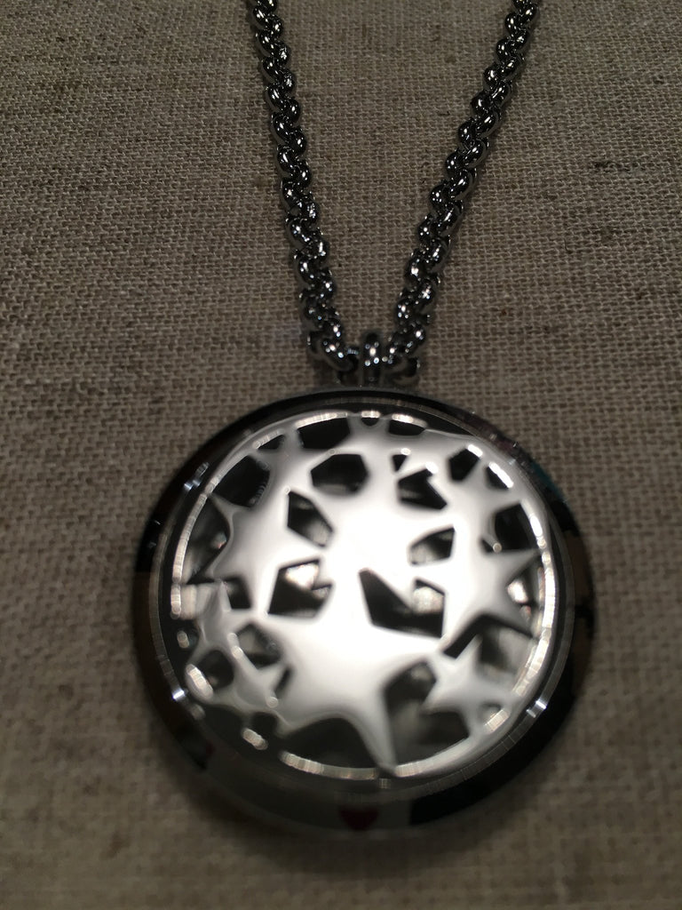 "Diffuser Necklace - Essential Oil Pendant Hypo-allergenic 316L Surgical Stainless Steel Diffuser Multi Star Locket With 24"" Chain. 30mm Sized Locket"