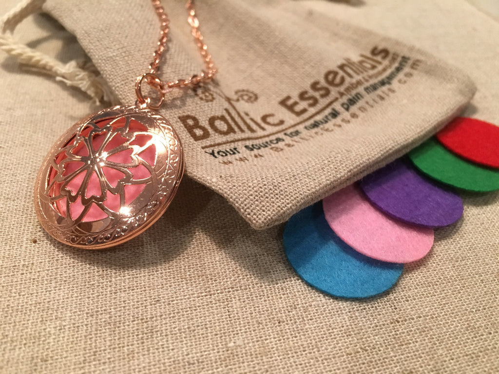"Diffuser Necklace - Pink Copper Essential Oil Diffuser Aromatherapy Pendant, Necklace Jewlery Locket Antique 24"" Chain And 5 Aroma Pads"