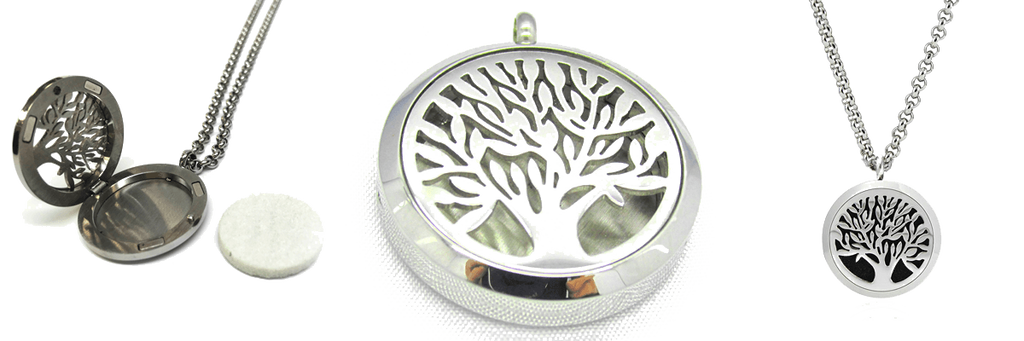Diffuser Necklace - Tree Of Life Essential Oil Pendant Hypo-allergenic 316L Surgical Grade Stainless Steel Diffuser Locket With 29 Inch