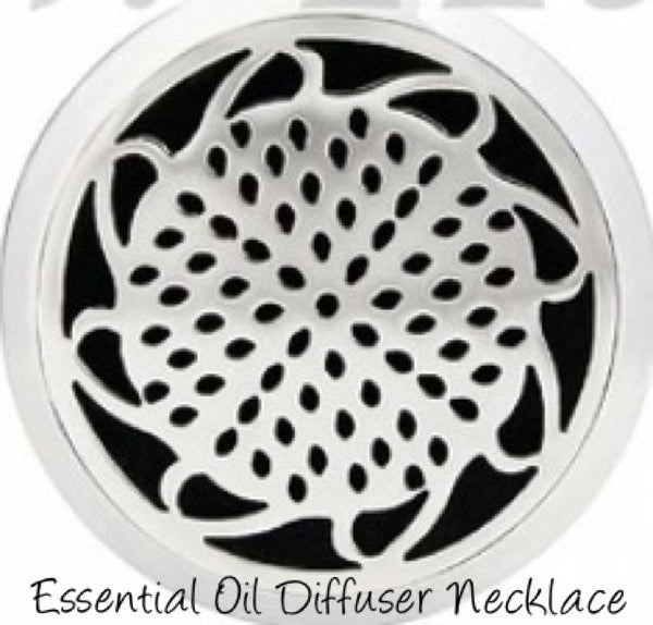 "Essential Oil Pendant Stainless Steel Diffuser Sunflower, Locket With 19"" Chain."