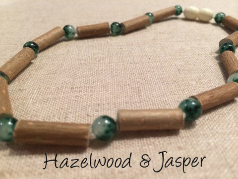 Green Jasper Hazelwood (For GERD, Colic, Eczema) Polished Mixed With Green Jasper Necklace For Baby, Toddler