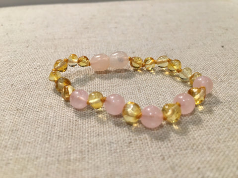 Hazelwood Bracelet - 5-6 Inch Bracelet Pink Rose Quartz Polished Lemo Baltic Amber Mixed For Baby, Toddler